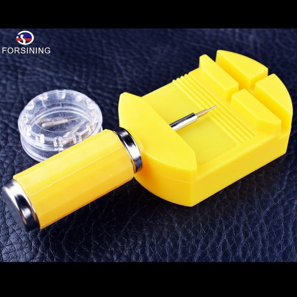 Forsining reloj de acero inoxidable reparación Herramientas amarillo diseño de calidad de plástico ajuste de la correa fácilmente