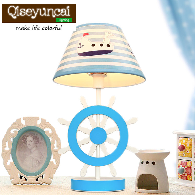 New type European Mediterranean children room table lamp rudder bedroom bedside lamp study to study eye protection LED desk lamp 2pcs ac100 to ac240v hotel room bedside lighting 5w minimal rotatable diffused study lamp led
