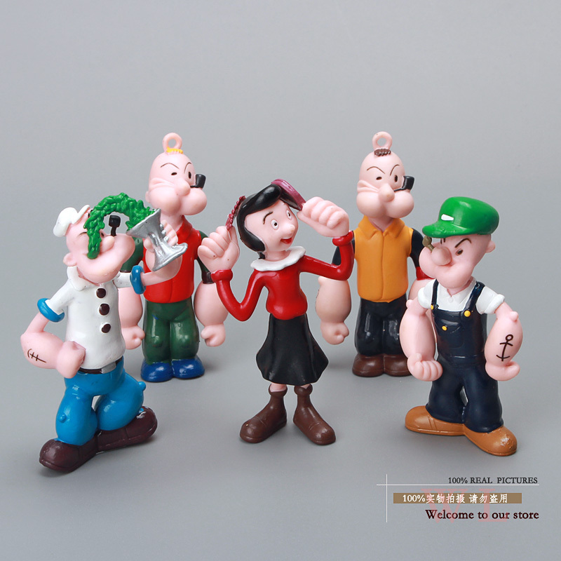 Cute Popeye the Sailor man PVC Action Figure Model Toys Dolls 5pcs/set Classic Toys Christmas Gifts DSFG068 free shipping hello kitty toys kitty cat fruit style pvc action figure model toys dolls 12pcs set christmas gifts ktfg010