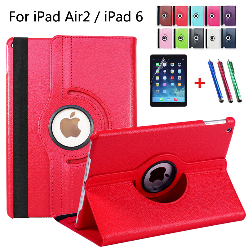 For iPad6 / For iPad Air2 Pu Leather 360 Rotating Case Smart Stand For iPad 6 / For iPad Air 2 Tablet Case + pen + Film hand strap shockproof stand case armor cover for ipad air 2 ipad 6 full protective stand case for ipad air2 ipad6