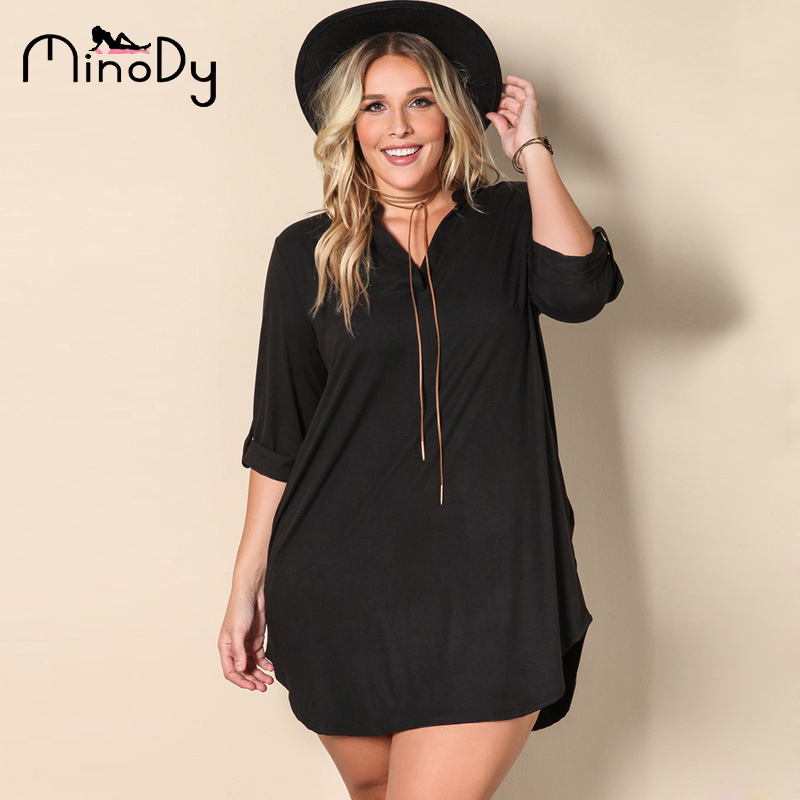 2df1131bac0 Minody Women Plus Size Shirt Dress Spring Autumn Black V Neck Long Shirts  Dresses Loose Solid Women Clothing BEFX170044-in Dresses from Women s  Clothing on ...