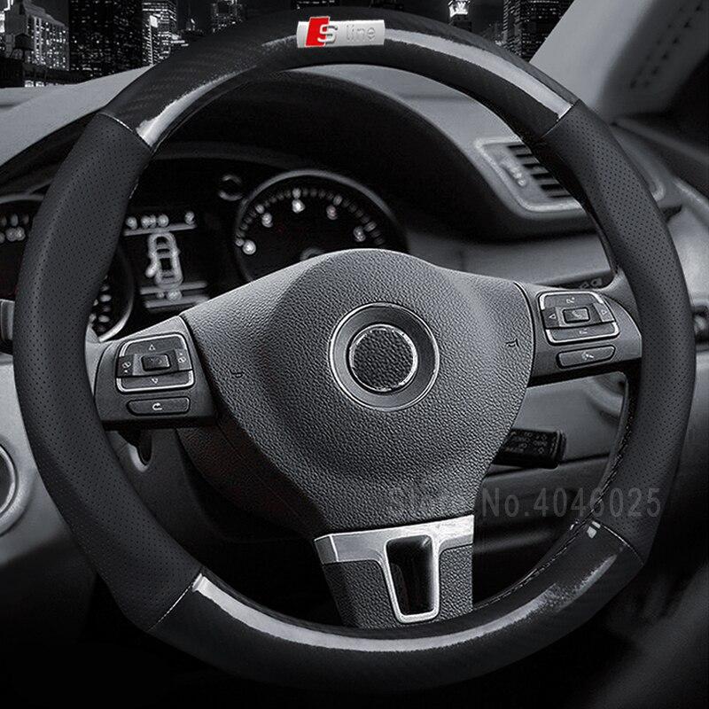 Автомобиль-Стайлинг 38 см углеродного волокна кожи автомобиль-охватывает Руль спортивный гоночный руль Обложка для AUDI BENZ KIA Vw Romeo