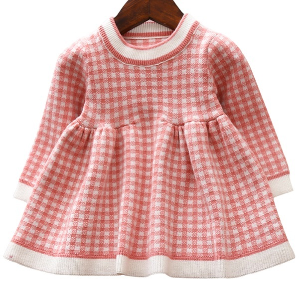 Girls Knitted Dress autumn winter Clothes Lattice Kids Toddler baby dress for girl princess Cotton warm Christmas Dresses