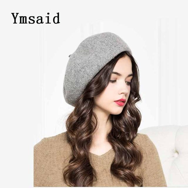Ymsaid 2018 nuevo, caliente, de moda, de mujer Casual clásico sólido Color Simple, gorros, sombreros de las mujeres de otoño e invierno de lana de pintor de boinas