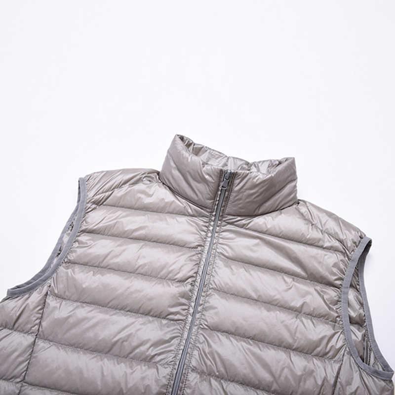 2018 Новое поступление мужская куртка без рукавов зимний Сверхлегкий белый утиный пух мужской жилет, Слим жилет мужской ветрозащитный Теплый жилет