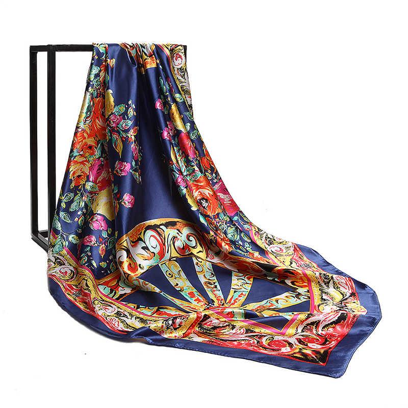 90*90 cm moda mujer fulard seda cuadrado bufanda rueda flor impreso Hijab moda marca mujer Crepe satén seda chal pañuelo