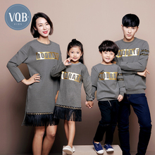 Fashion family vqb 2016 winter fashion tendrils mother and son family set letter bronzier thickening sweatshirt