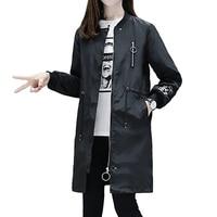 White Black Vintage Windbreaker Women Autumn Long Trench Coat Emboridery Street Fashion Baseball Steampunk Clothing H0020F