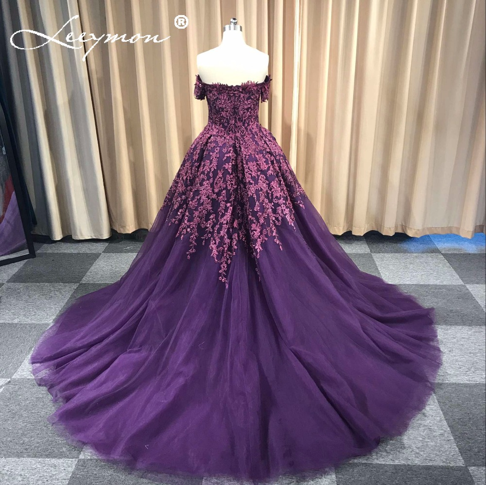 Lila Vestidos de Noiva Bollklänning Lace Evening Dress Lång Av Axel - Särskilda tillfällen klänningar - Foto 4