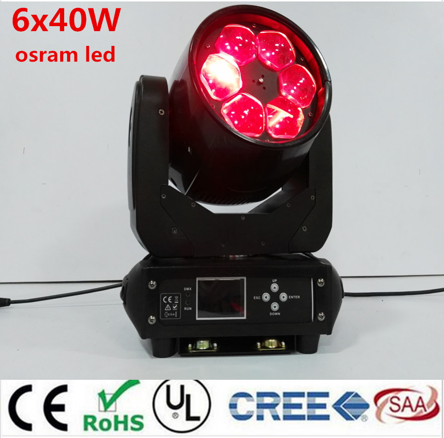 LED Super Beam 6x40W rgbw 4in1 LED ZOOM moving head beam light bee eye for Bar effect led stage lighting dmx dj lights стоимость