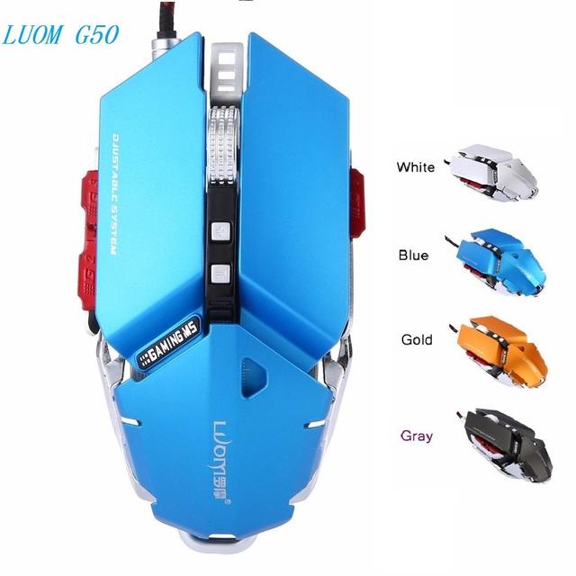 LUOM G50 Wired Gamer Ratón 10 Botones 4000 DPI Programable RGB LED Respirar Gaming Profesional Ratón Para Ordenador Portátil de Escritorio