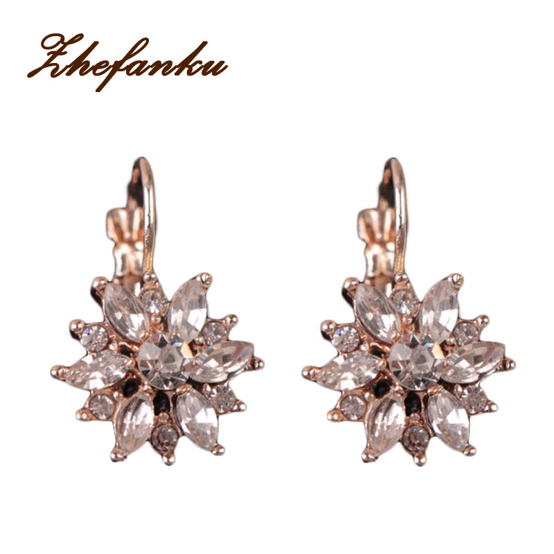 2017 Zircon Snow Earrings Korean Gold/ Silver Plated Hypoallergenic Earrings Factory Direct High-end Fashion Attractive And Durable