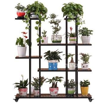 חדש חיצוני מרפסת רב שכבתי נחיתה צמח Stand גן קישוט מקורה עציץ סיר Stand גלגלים פרח מדף