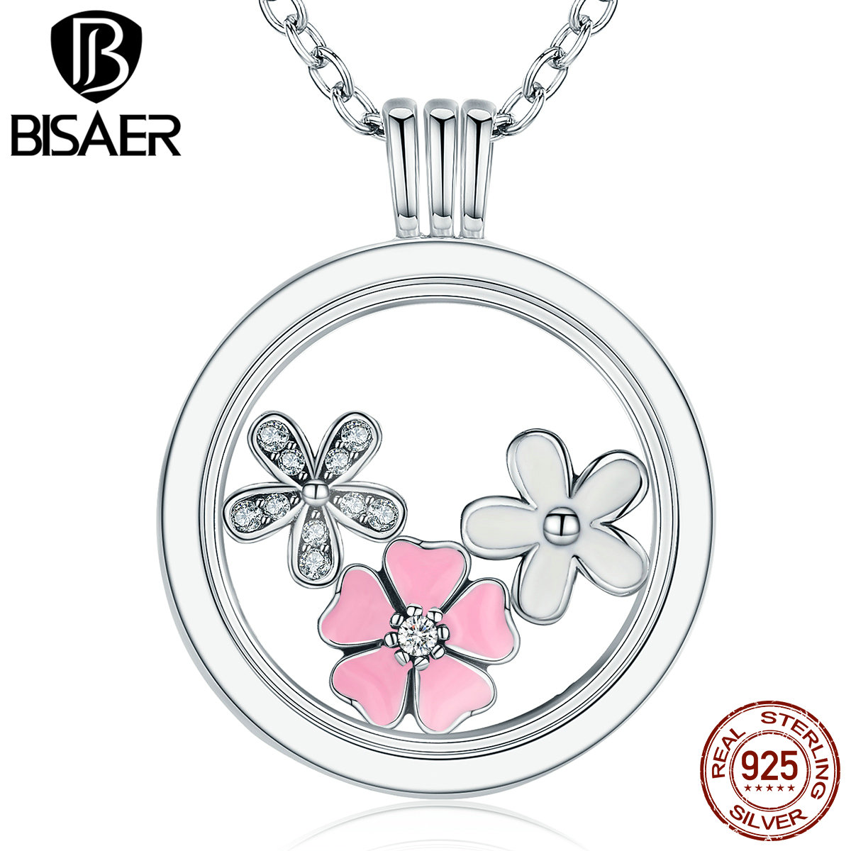 High Quality 925 Sterling Silver Pink Flower Poetic Daisy Cherry Blossom Mixed Enamel Locket Pendant Necklaces Petite Memories