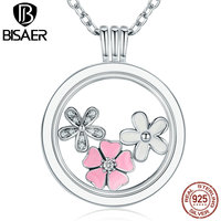 High Quality 925 Sterling Silver Pink Flower Poetic Daisy Cherry Blossom Mixed Enamel DIY Locket Pendants