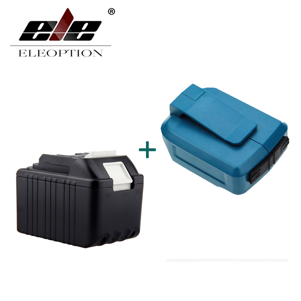 ELEOPTION 18V 4500mAh Li-Ion Rechargeable Power Tools Battery For Makita BL1830 BL1815 194204 5 + Dual USB Charger AdapterELEOPTION 18V 4500mAh Li-Ion Rechargeable Power Tools Battery For Makita BL1830 BL1815 194204 5 + Dual USB Charger Adapter