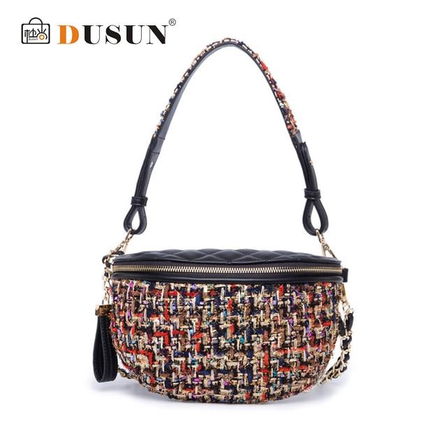 DUSUN Vintage Women Waist Bag Crossbody Bag Wool Belt Waist Packs Style Fashion Mini Panelled Woven Bag Small Handbag Colorful