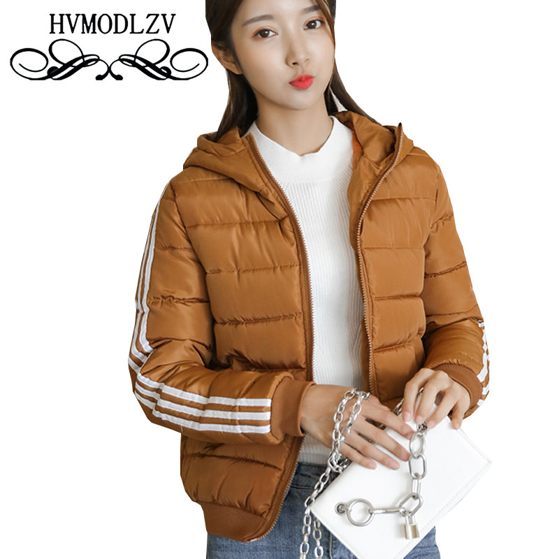 Plus Size Winter Women Hooded Thicker Striped Pink Short Cotton Jacket 2017 Hooded Striped Leisure Cotton Jacket Women  ls291 ny collection women s cotton striped cuffed sweater pink 2x
