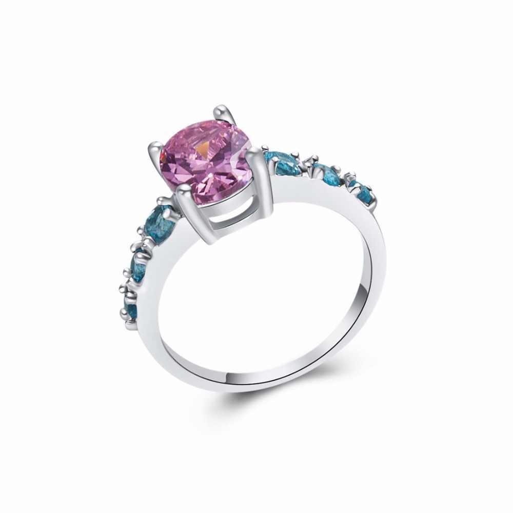 BONLAVIE M Organite/โกเมน/P Eridot/สีชมพู/สีฟ้าสีหินผู้หญิงแหวนขนาด6 7 8 9 10 11 12 13อินเทรนด์ชุบเงินแหวนหญิง