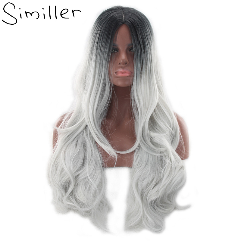 Similler 26 Women s Black To Grey Ombre Wig Long Curly Heat Resistant Synthetic Hair
