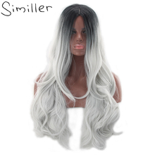 Similler 26″ Women's Black To Grey Ombre Wig Long Curly Heat Resistant Synthetic Hair