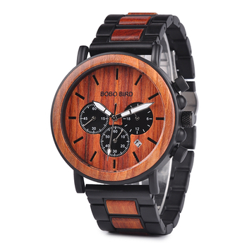 BOBO Chronograph Wooden Military Quartz Watch 1