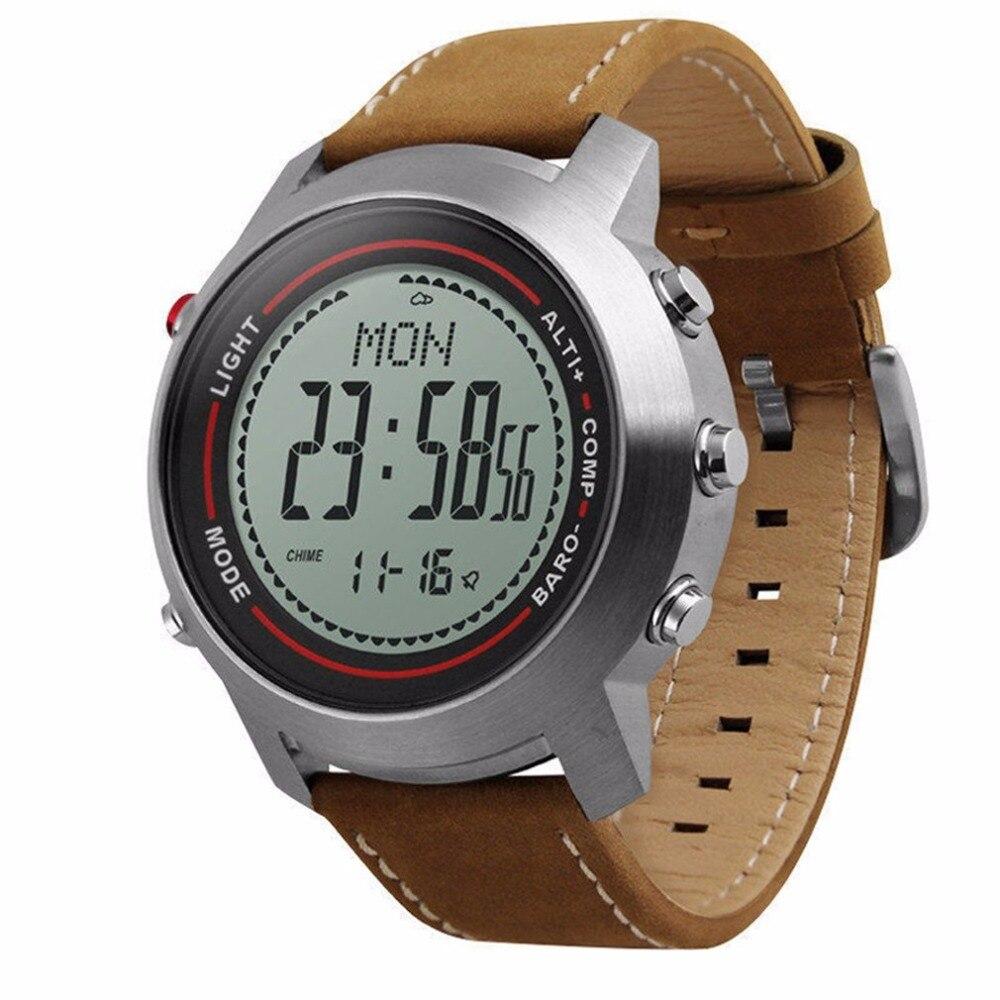 MG03 Montre Smart Watch Bande de Cuir Multi-Fonction 5ATM Acier Inoxydable Cadran Mountaineer Sport Montre Altimètre Baromètre Thermomètre
