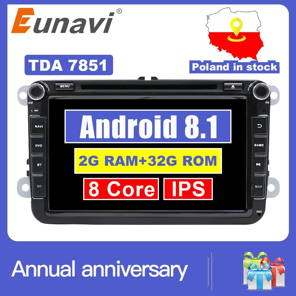Eunavi 2 Din 8 ''Octa base Android 8.1 dvd de voiture pour VW Polo Jetta Tiguan passat b6 cc fabia lien miroir wifi Radio CD au tableau de bord