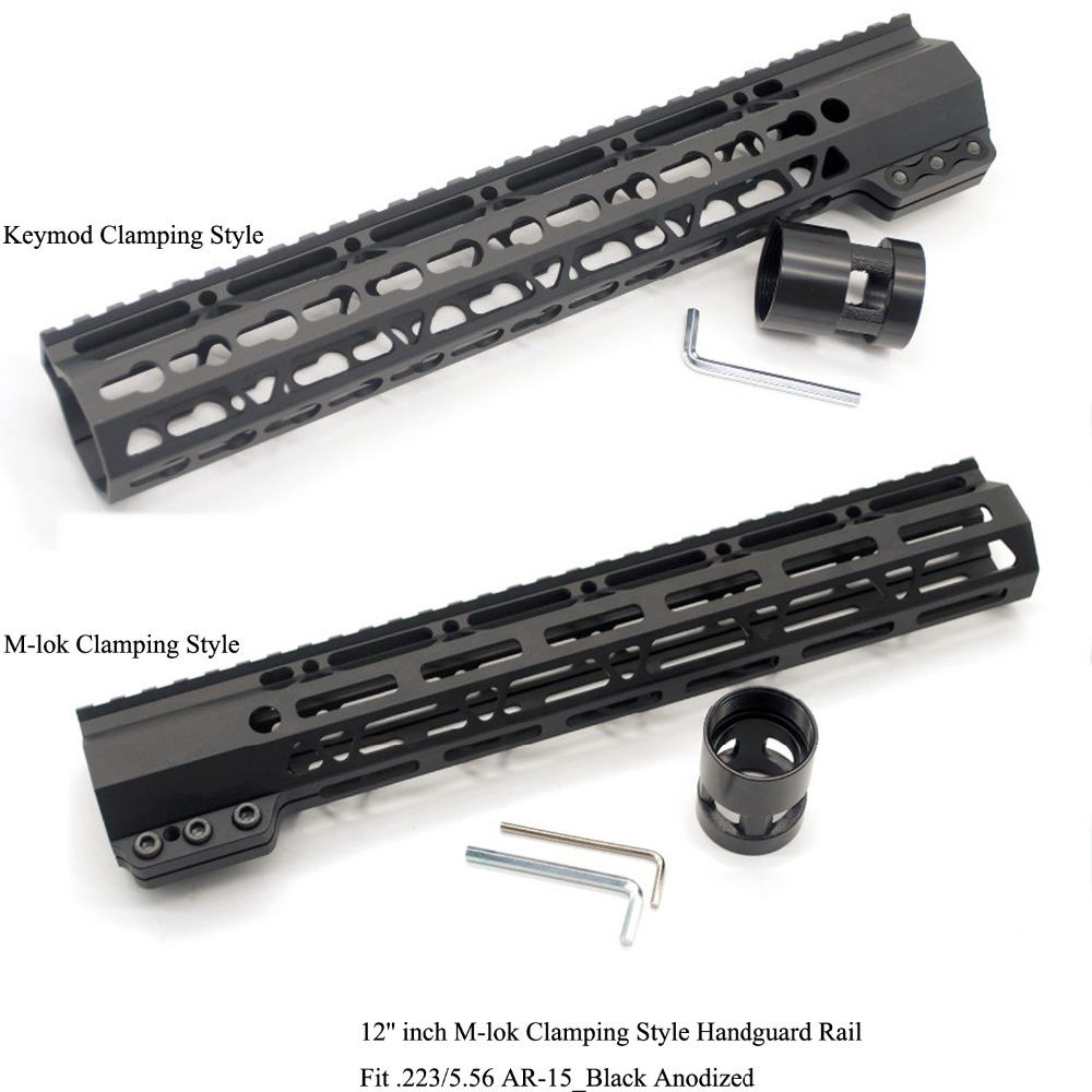 TriRock 12'' inch Black Anodized Clamping Style Keymod / M-lok Handguard Rail Picatinny Mount System Fit .223/5.56 AR-15 все цены