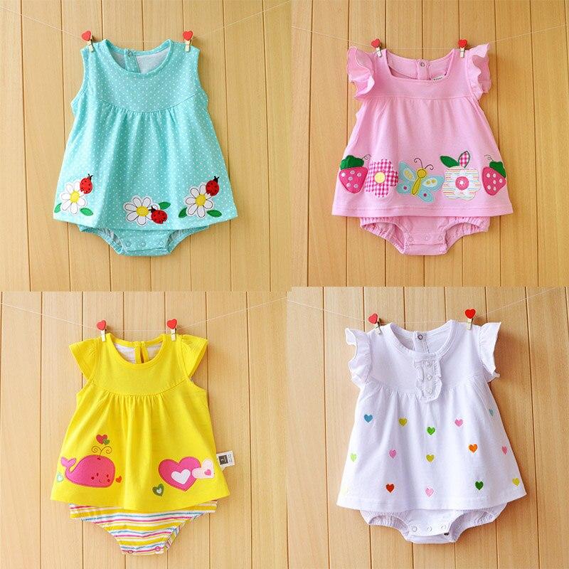 Newborn Baby Girl Dresses Cotton Baby Girls Clothing Roupas Bebe 2018 Toddler Kids Costume Summer Floral Baby Girl Bodysuit