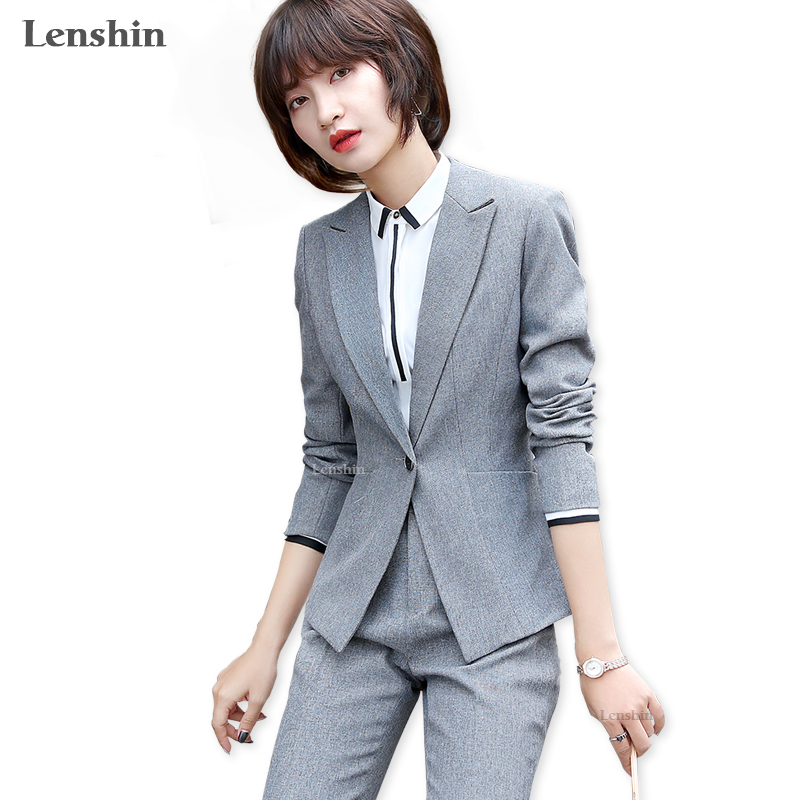 Lenshin 3 Piece Set Women Pant Suit Uniform Designs Formal Style Office Lady Business Career Gray Jacket With Trouser Work Wear