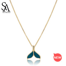 SA SILVERAGE Gold Color Plated Chain Link Necklace Real 925 Sterling Silver Blue Mermaid Tail Pendant Necklaces