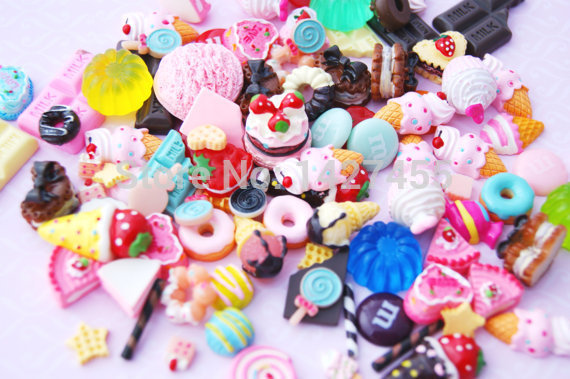 50pcs/lot  Decoden Sweets Deco Kawaii Flatback Resin Cabochons Cream Cake Assortment Assorted Pack Sweets Starter Pack