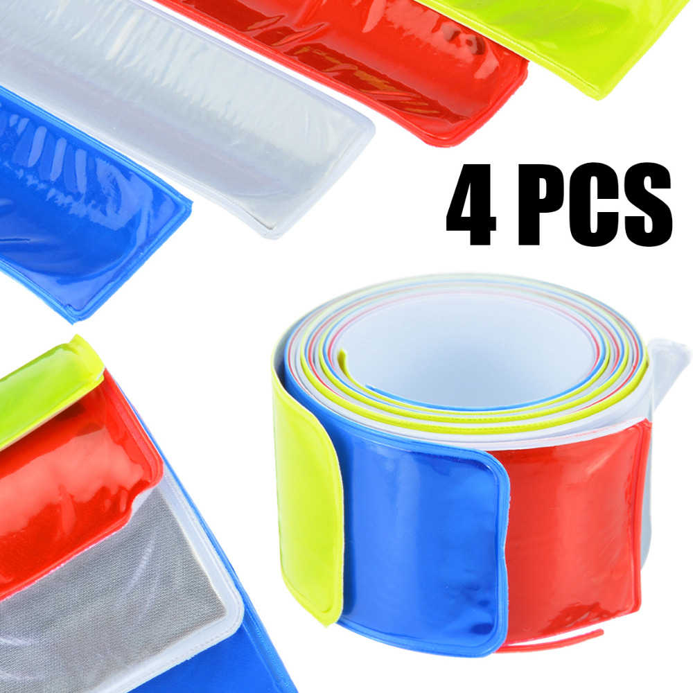 Motorbike Accessories Decals & Stickers Hot 4pcs 40x3cm Motorcycle Bicycle Reflective Tape Sticker Safe Motorcycle Cycling Sticker Tape Leg Strap Reflective Stickers Strengthening Waist And Sinews