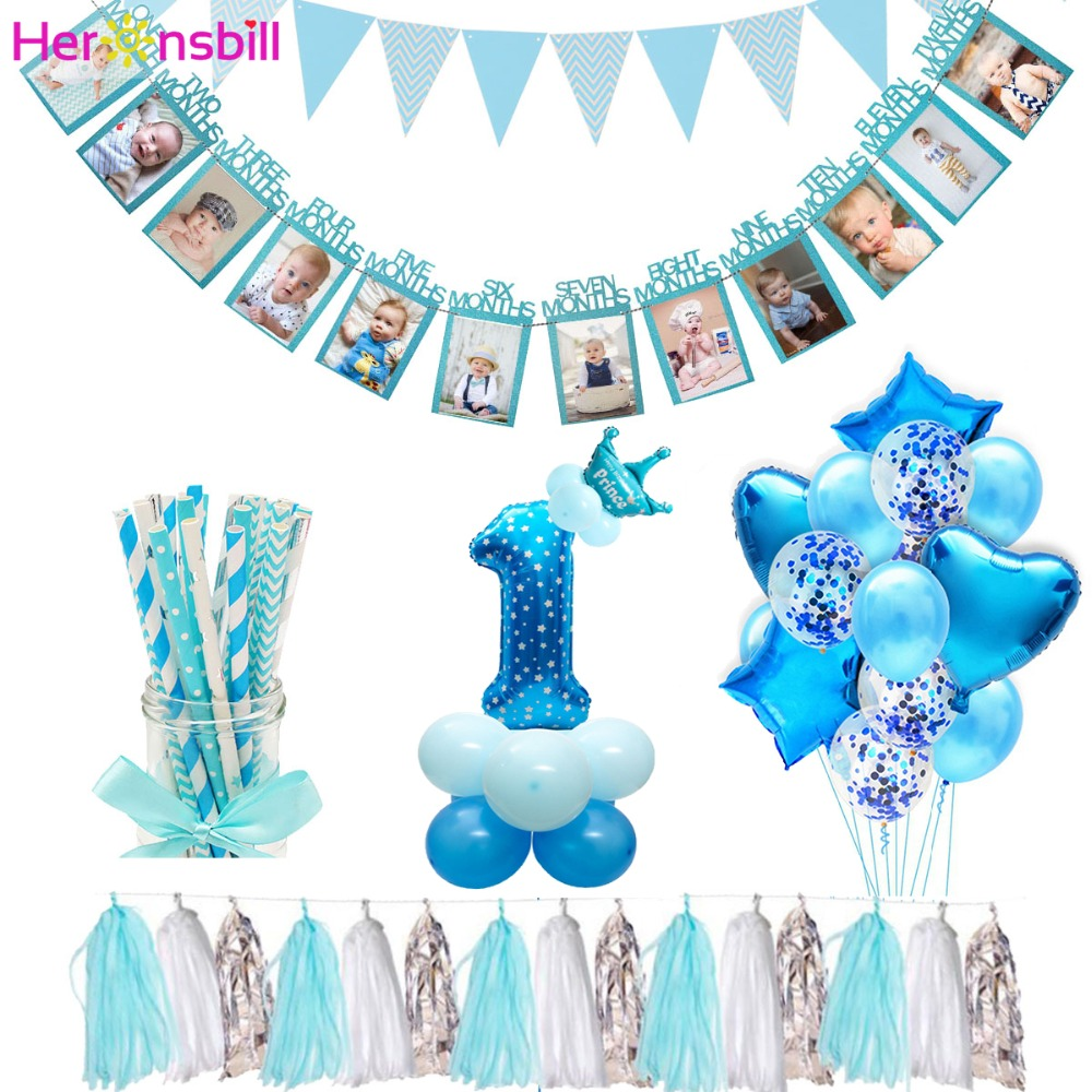 Heronsbill 12 Months Photo Frame Banner First Birthday Decorations 1st Baby Boy Girl My 1 One Year Party Supplies Gold Pink Blue