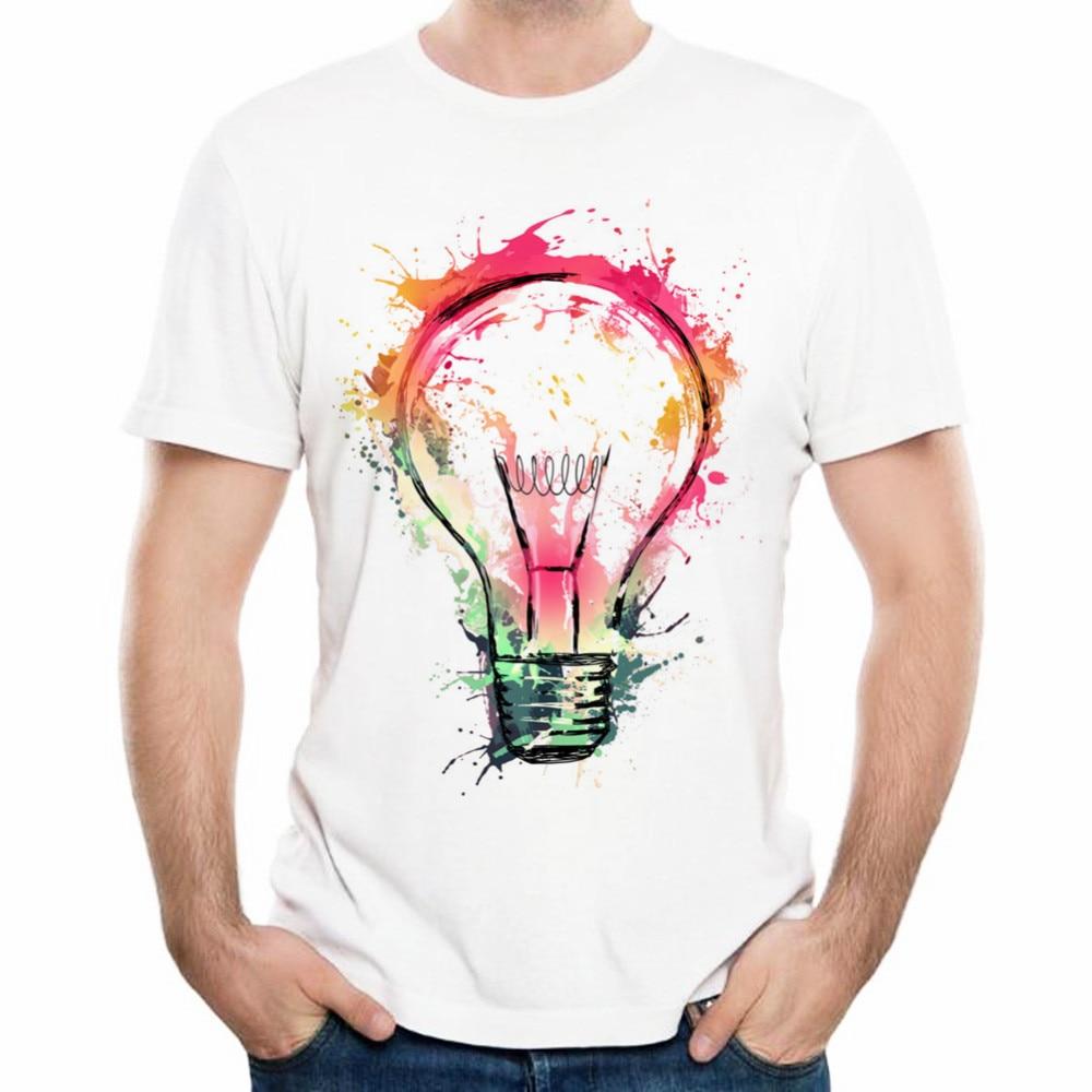 T Shirts Designs Ideas t shirt design Xampclassic Creative Design Splash Ideas Splash Electricity Bulb Print Men Summer 3d T