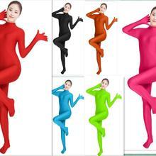 Зеленый спандекс зентай полный тело Кожа Облегающий комбинезон зентай костюм боди Хэллоуин костюмы для женщин Unitard лайкровая танцевальная одежда