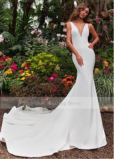Image 2 - Stunning Tulle & Satin V neck Neckline Mermaid Wedding Dress With Beadings Illusion Back Court Train Bridal Robe De Mariage-in Wedding Dresses from Weddings & Events