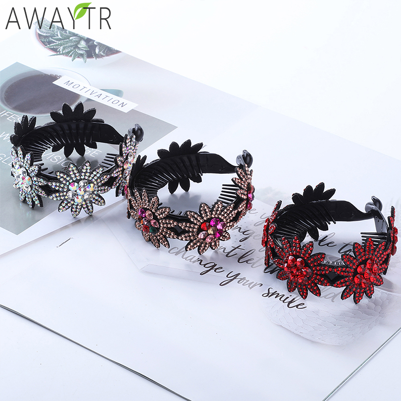 Hair Accessories For Women Round Hair Buckle Crystals Floral Clips Girls Ponytail Barrette Long Thick Hair Clip Claw Headwear