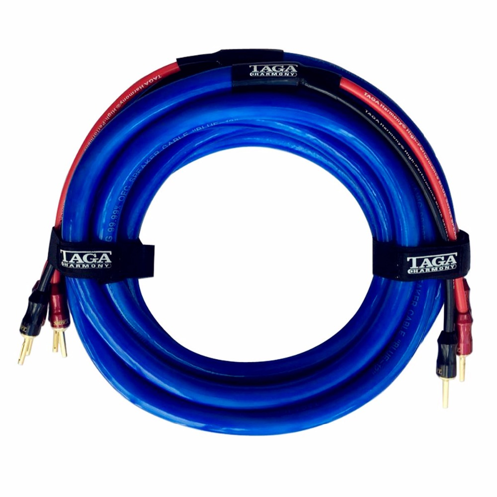 TAGA Harmony BLUE-12 Hi-end 12 AWG OFC Speaker Cable with Banana Plugs 3m x 2