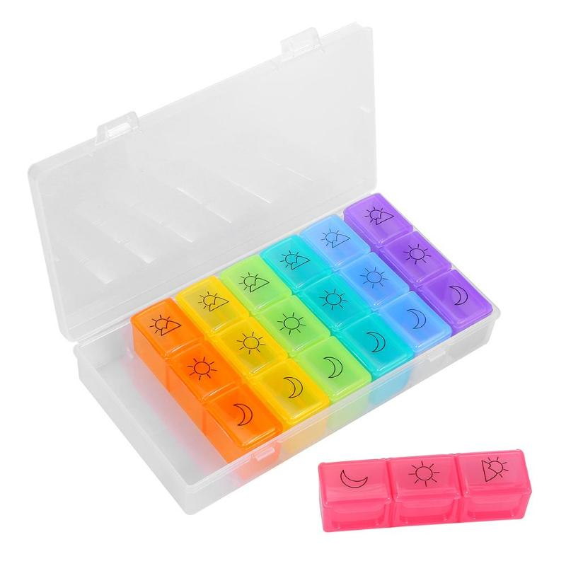 7 Days Weekly Pill Organizer Plastic Tablet Dispenser Medicine Container With 21 Compartments Weekly Pill Organizer