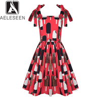 AELESEEN Designer 100% Cotton Dress 2019 Women's Spaghetti Strap Floral Sequined Red ice cream Printed Elegant Dress Vestidos