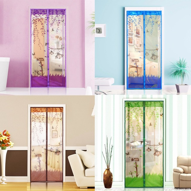 1 pc Home Magnetic Mesh Screen Door Mosquito Net Curtain Protect Kitchen Window Organza Screen Four Colors 90*210cm/100*210cm