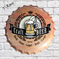 35cm Craft Beer Bottle Caps Metal Wall Plaque Vintage Souvenir Party Hotel Bar Room Decoration RM