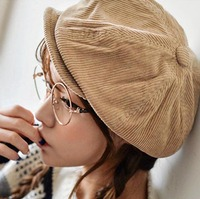 2015 Fashion New Lady Women Beret Hats Beanie Autumn Winter Hat Female Solid Outdoor Corduroy Beret