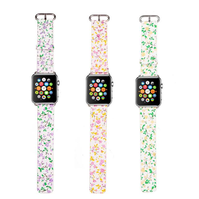 Dahase floral couro genuíno band para apple watch série 2 flor cinta para iWatch segunda primeira Pulseira 42mm 38mm w Adaptadores De Metal