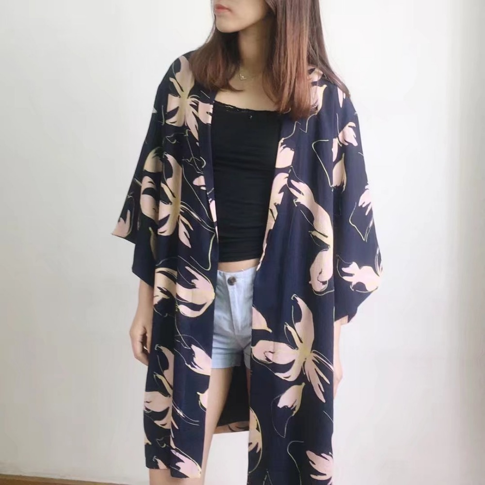 2017 New Popular 3/4 Length Sleeves Kimono Style Cardigan Jacket ...