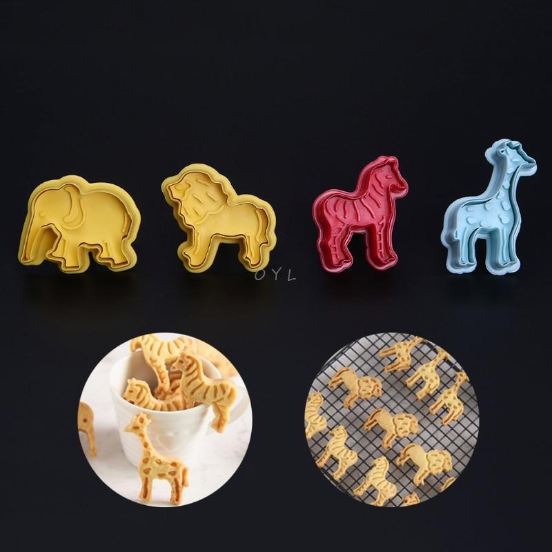 4 шт 3D животные пластиковые формы для печенья помадка торт резак плесень инструменты для выпечки, сделай сам