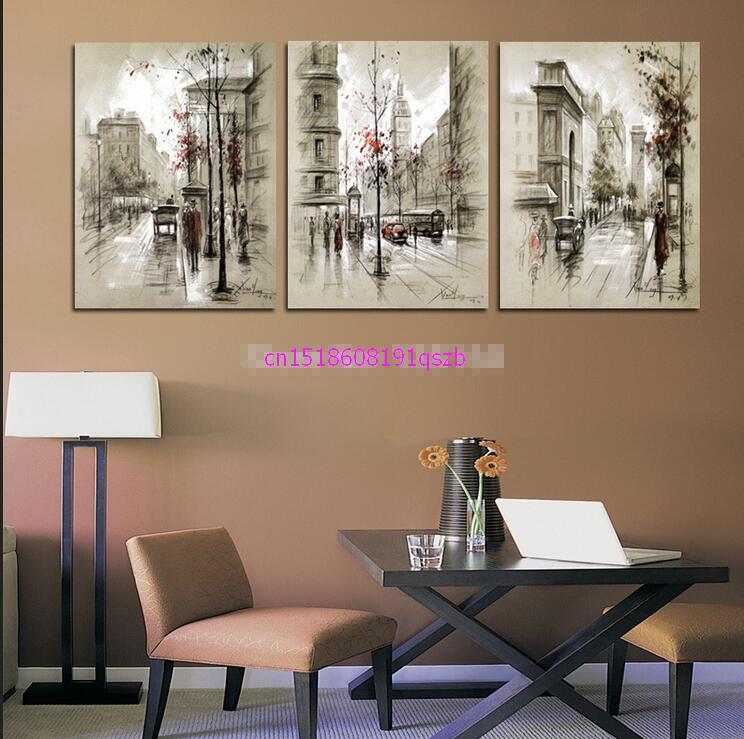 New arrival modular 3 Panel Canvas Painting Wall Art Abstract City Street Landscape Decorative Pictures For Living Room Bedroom
