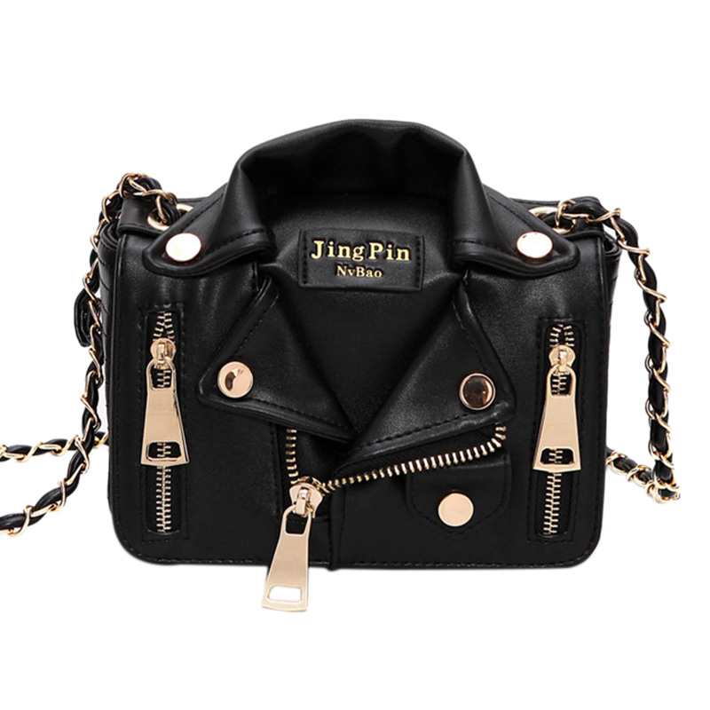 New Brand Design Chain Motorcycle Bags Women Clothing Shoulder Rivet Jacket Bags Messenger Bag Women Leather Handbags Tote